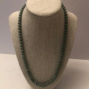 Antique Jade bead necklace w/ silver clasp